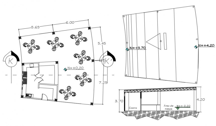 2d cad drawing of restaurant dining cultural autocad software