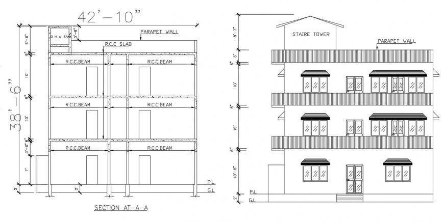 2d cad drawing of stare tower autocad softwar