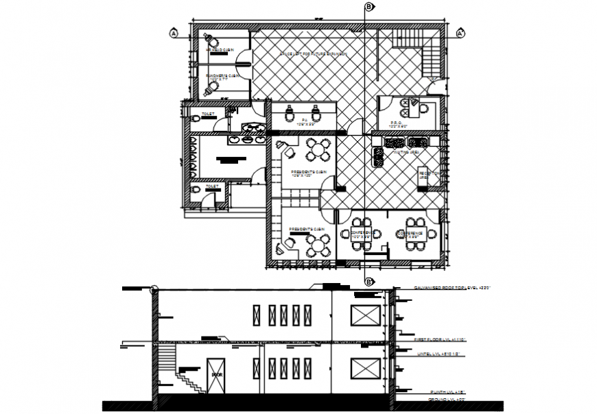 2d elevation of a office and top view layout plan