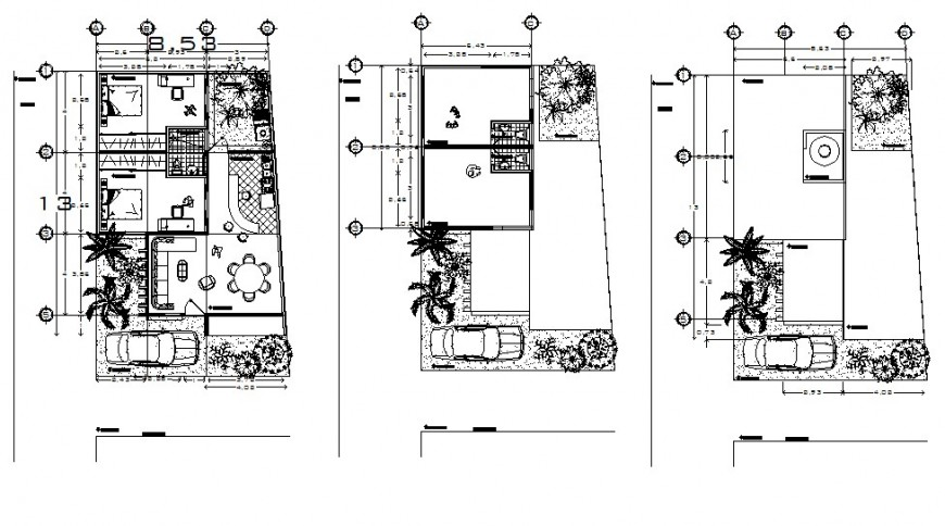 2d plan drawings details of the house furnished plan dwg file