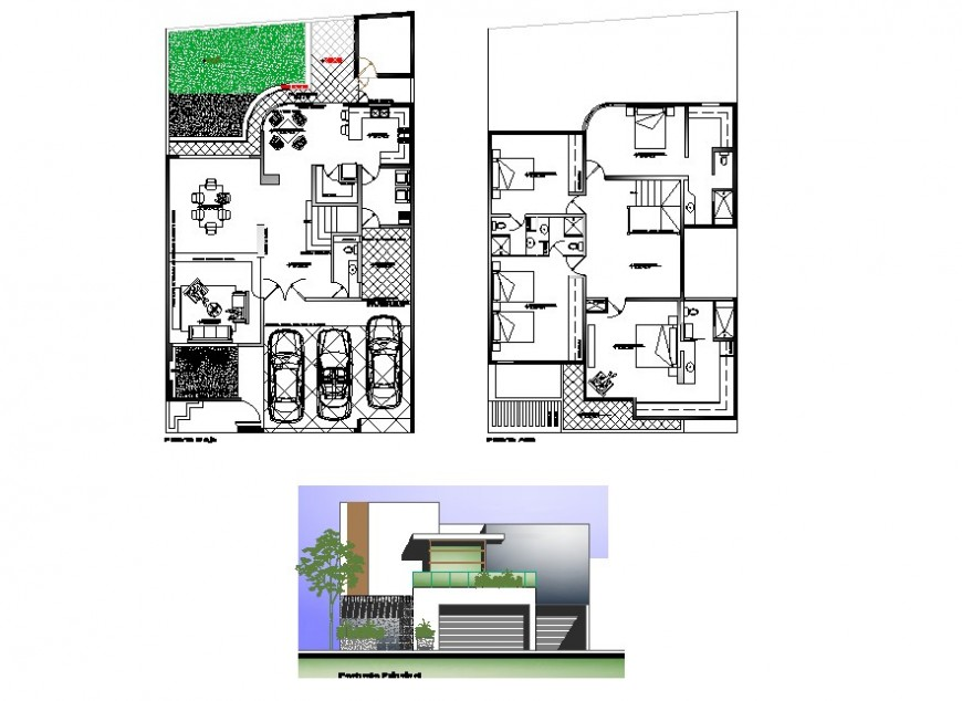 2d view of house plan and elevation CAD structural block autocad file