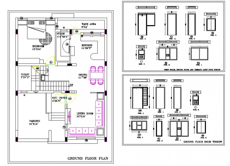 2d view of house plan layout CAD block autocad file
