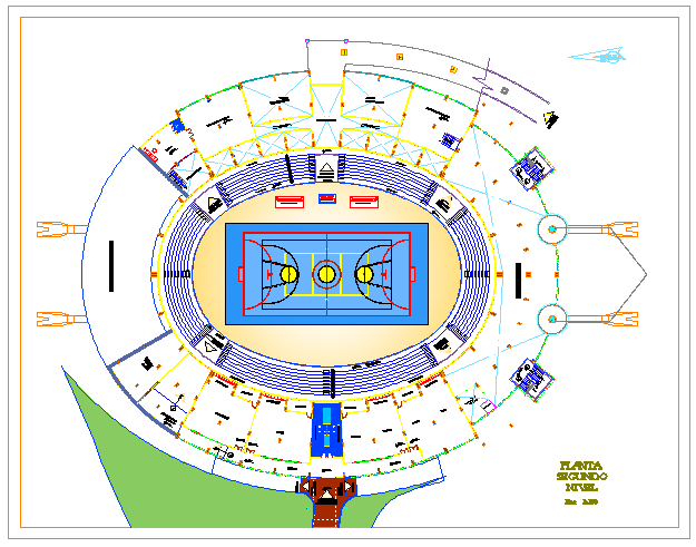 Second floor of  Sports Center design drawing
