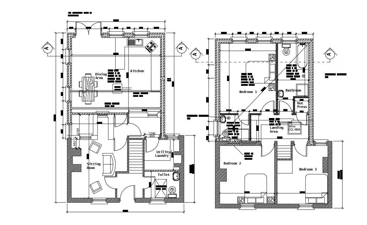 3 BHK Architecture House Layout Plan