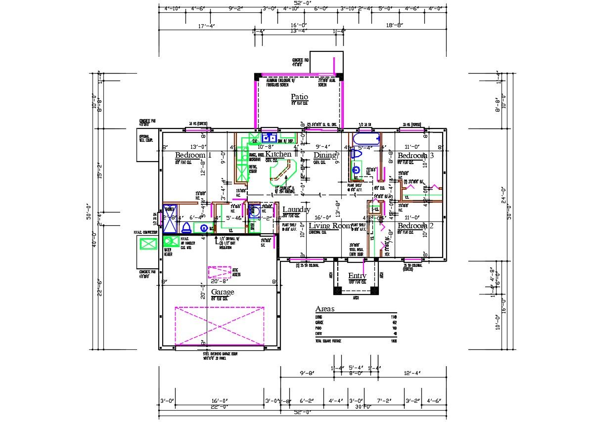 3 BHK House Plan AutoCAD File  Cadbull