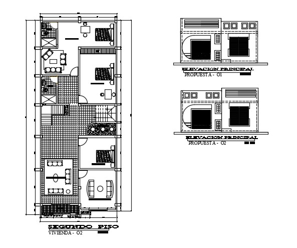 3 Bedroom House Plan In AutoCAD File