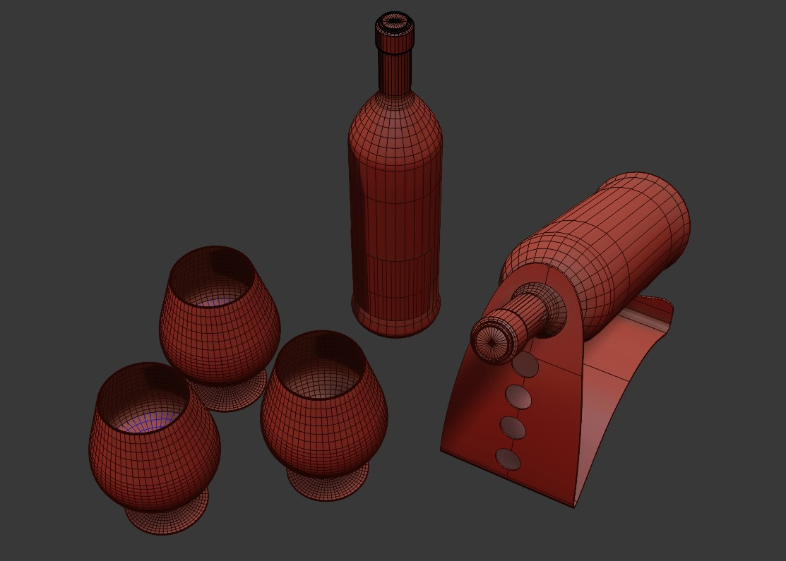 3 Glasses With 2 Bottles in  3D Max File Free