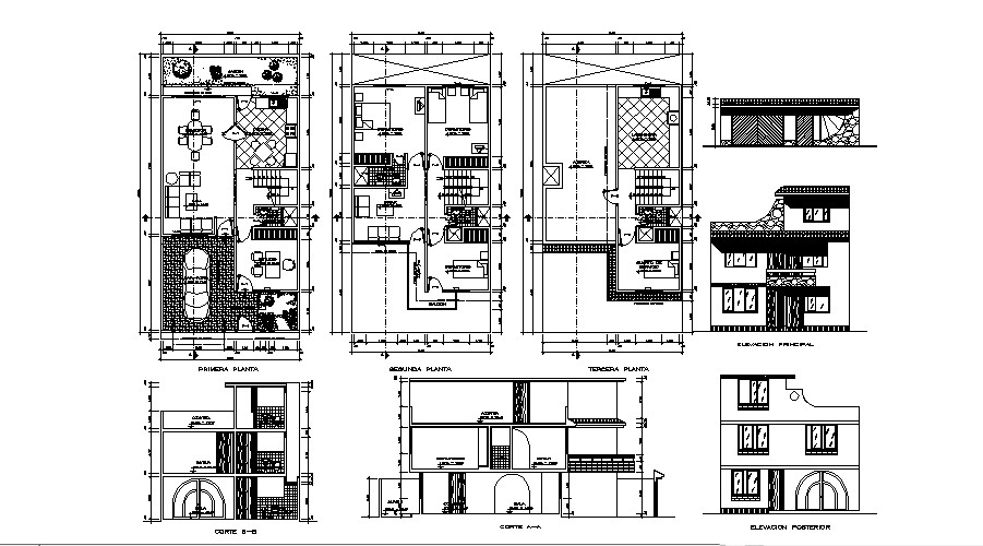 3 storey bungalow with section and elevation in AutoCAD