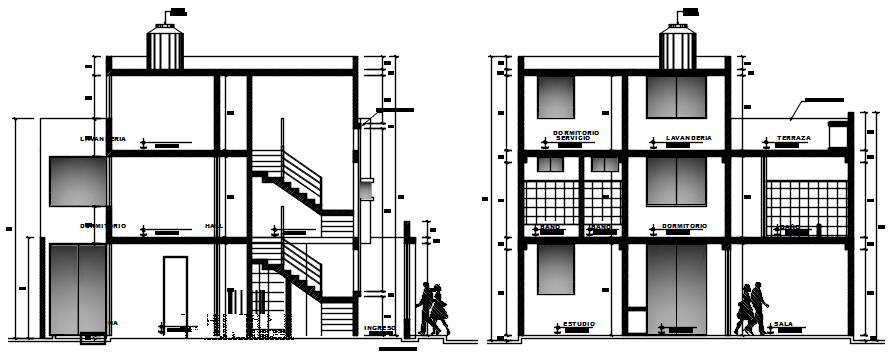 3 storey house design in dwg file
