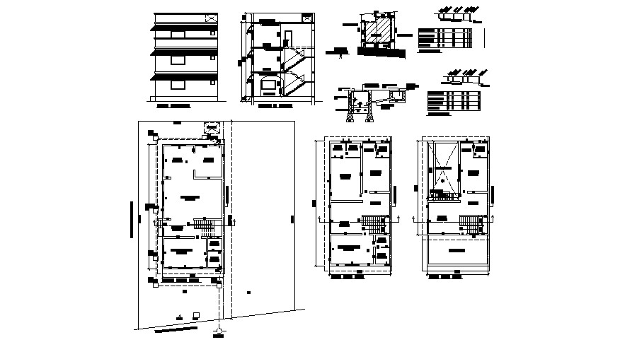 3 storey house with elevation and section in DWG file