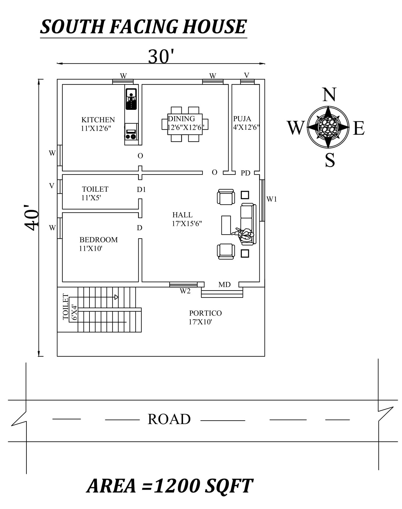 30 x40 1bhk south facing house plan as per vastu shastra