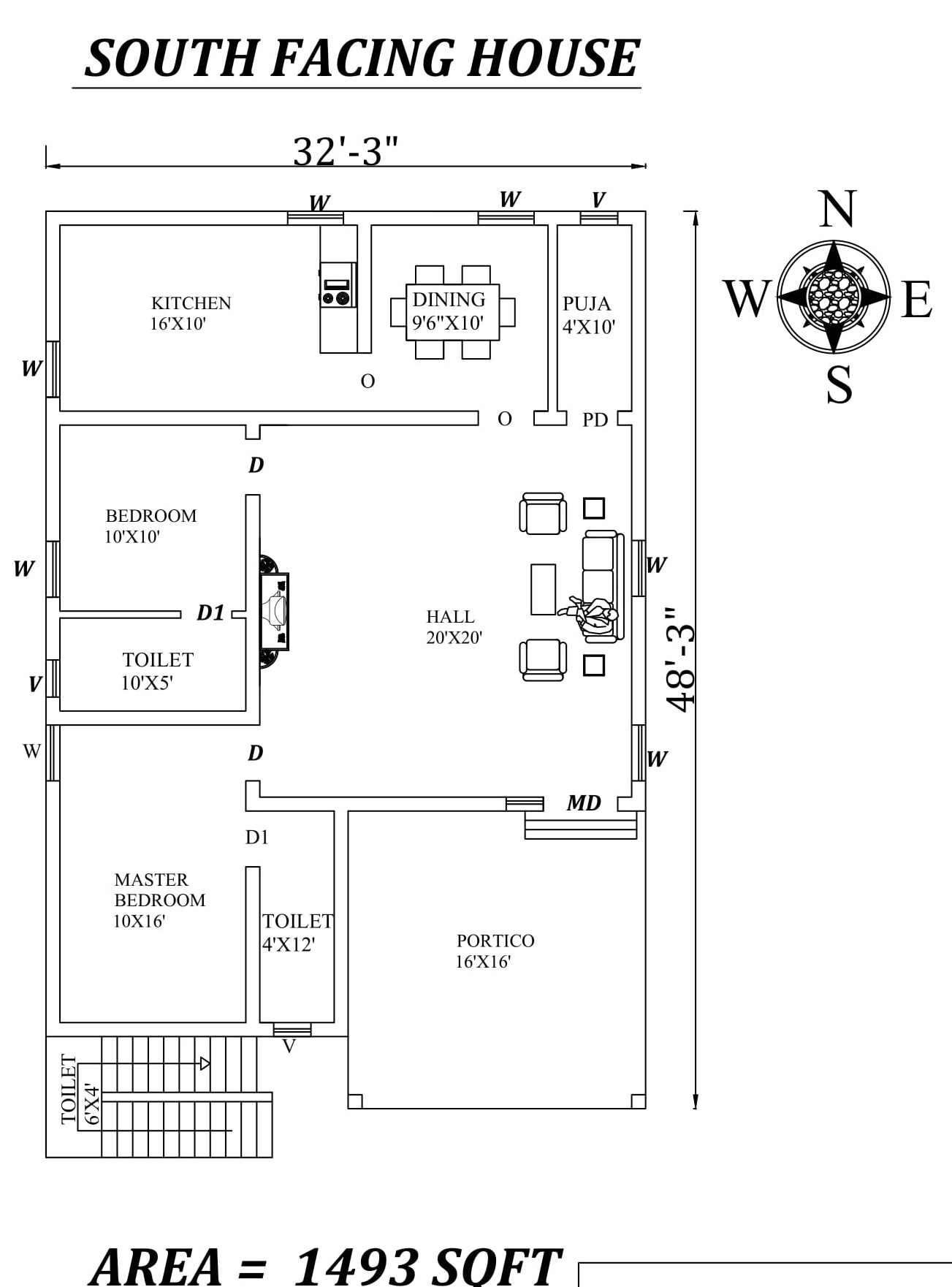 32 x48 wonderful 2bhk south facing house plan as per