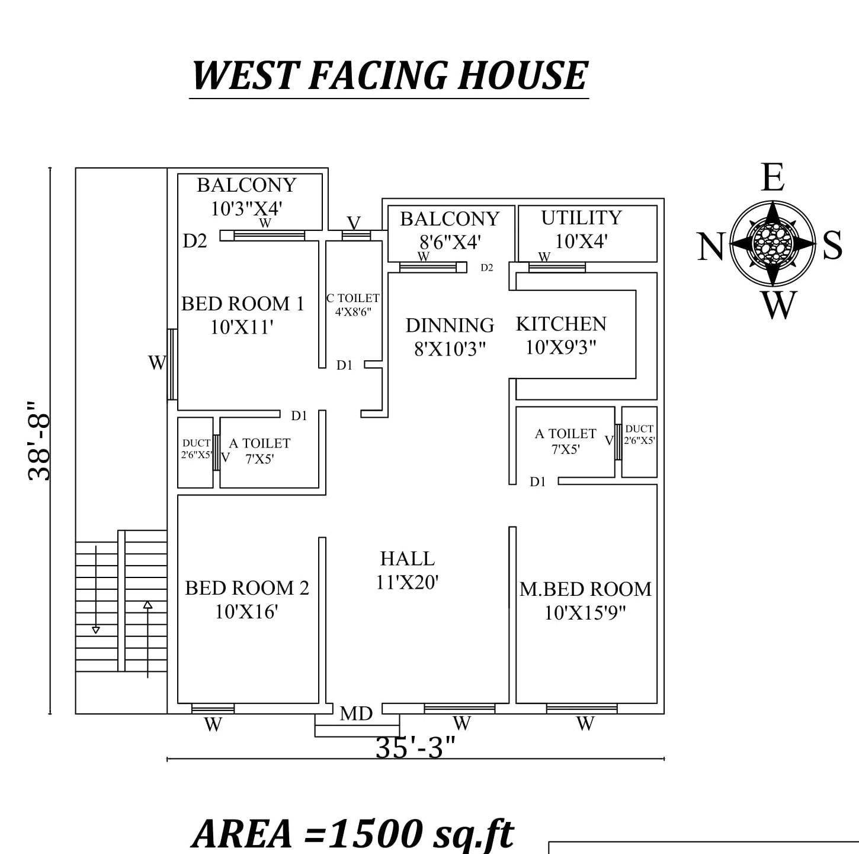 35 x38 9 West Facing 3BHK  House  Plan  As Per Vastu Shastra