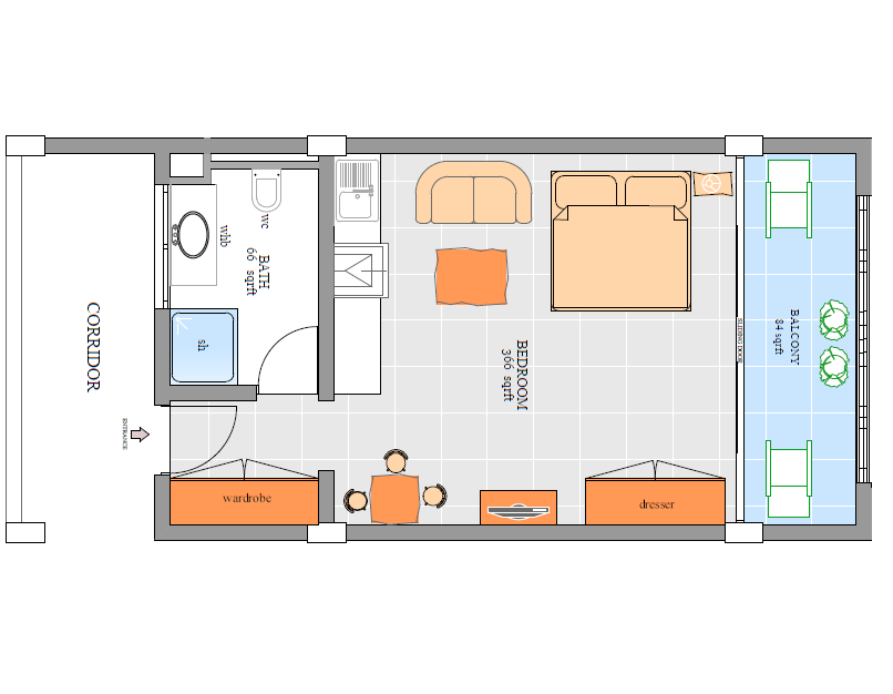 366sqrft Master bedroom Plan.