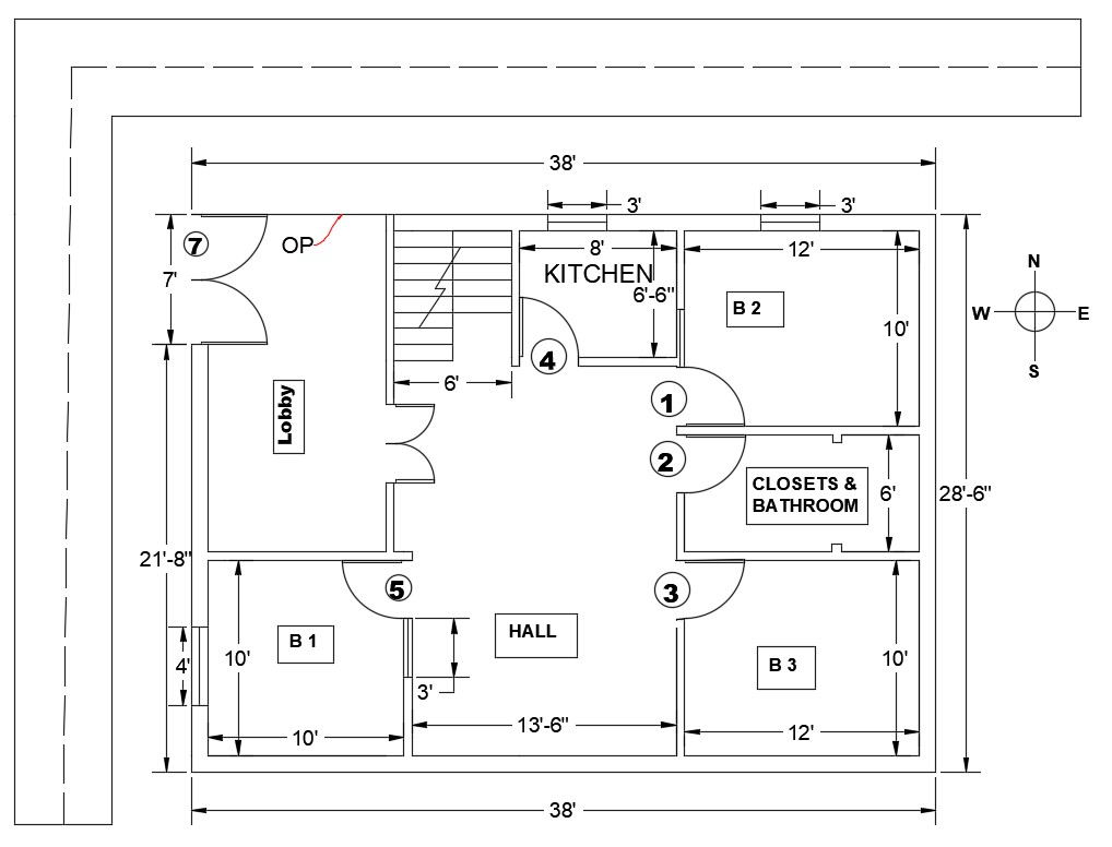 3BHK  Simple House  Layout Plan  With Dimension In AutoCAD