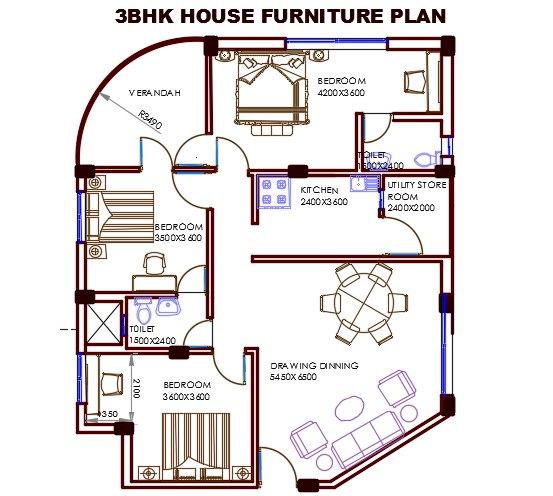 3 BHK  House  Plan  With Furniture Layout AutoCAD  Drawing DWG