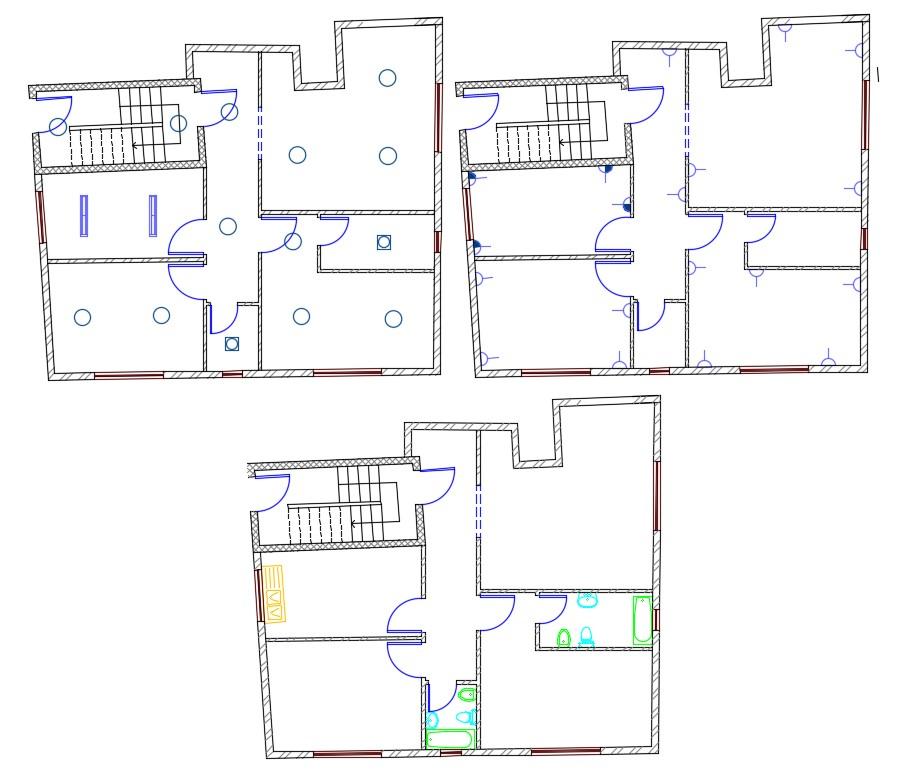 3  Bedroom  House  Wiring Plan  AutoCAD  File  Cadbull