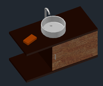 3D Bathroom furniture and circular overlay design drawing
