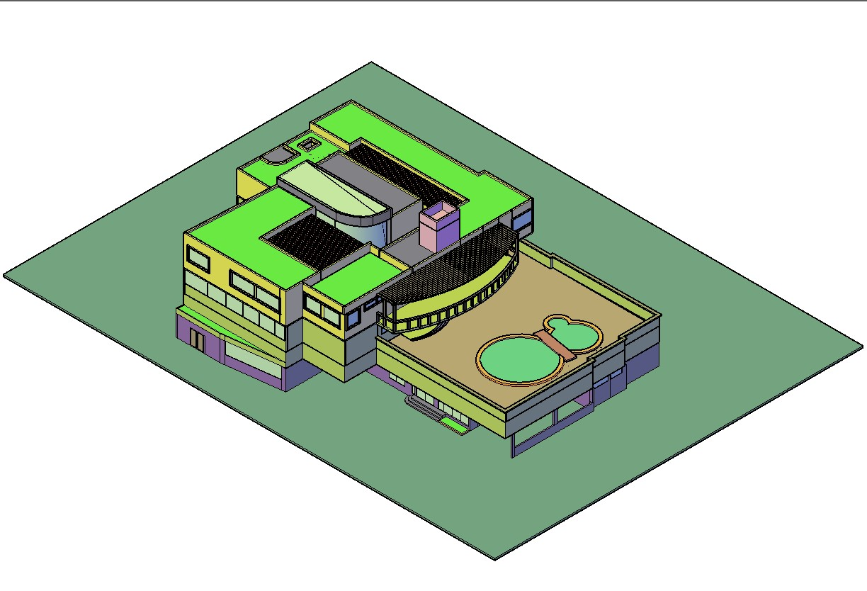 3D House With Swimming Pool DWG File