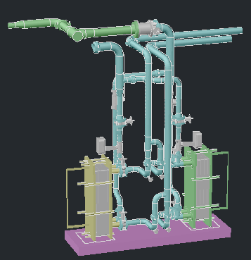 3D MODELof piping of heat exchanges design drawing