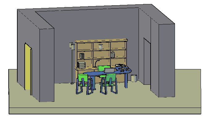 3D Manager cabin office design drawing