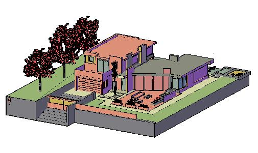 3D Modern housing design drawing