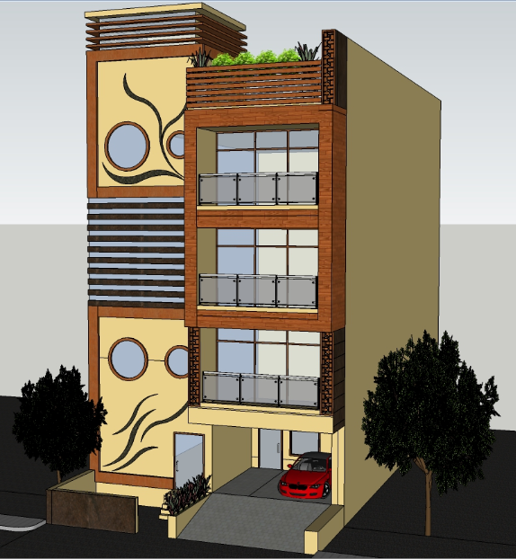 3D architecture tower housing design drawing
