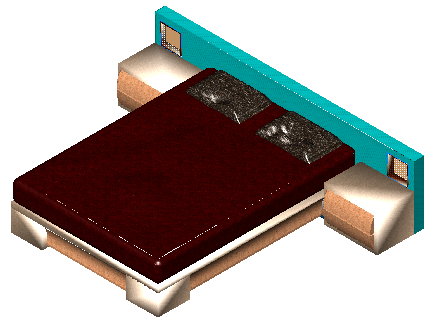 3D block of double bed design drawing