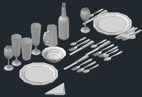 3D blocks table ware Cutlery design drawing