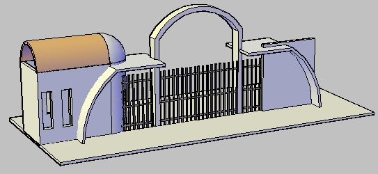 3D design drawing of main entry gate  design