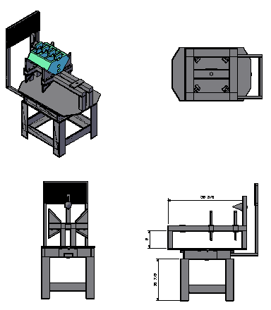 3D design of Cement table in block design drawing