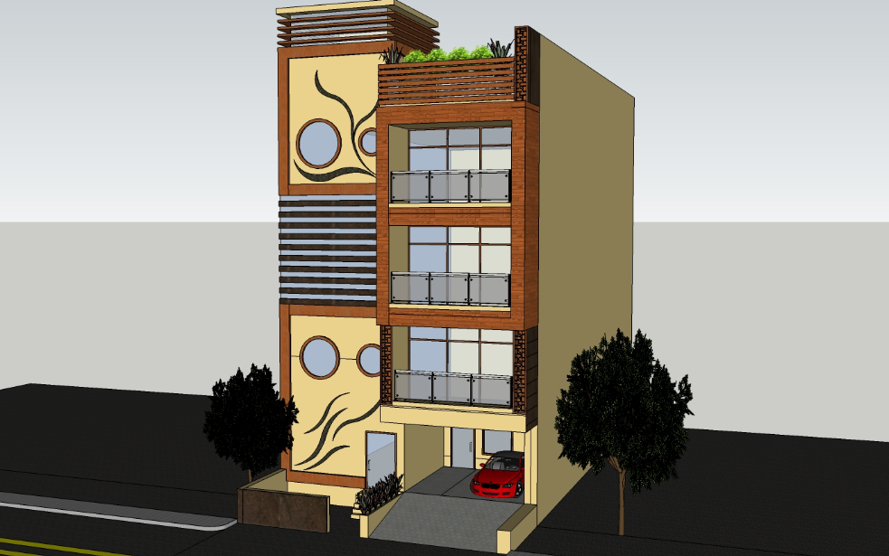3D design of three level tower housing dwg file