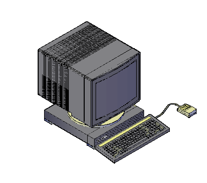 3D drawing of computer  block