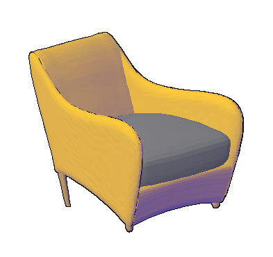 3D drawing of modern Single Sofa