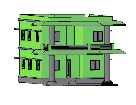 3D drawing of single family house design drawing