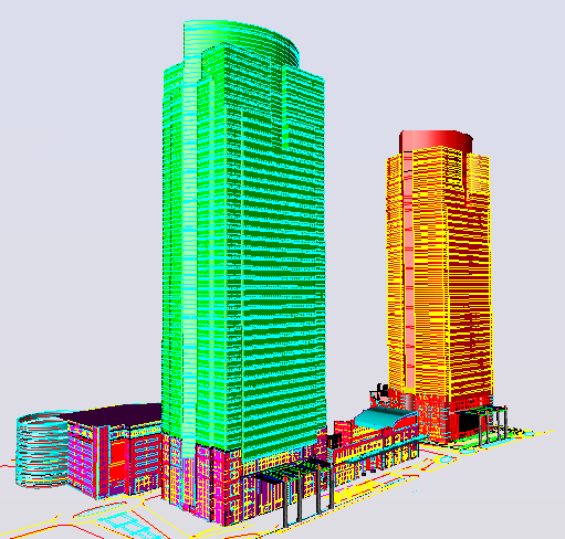 3D elevation design of a big office building dwg file