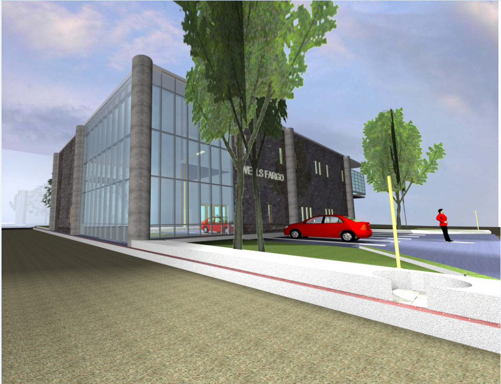 3D image view of a bank agency dwg file