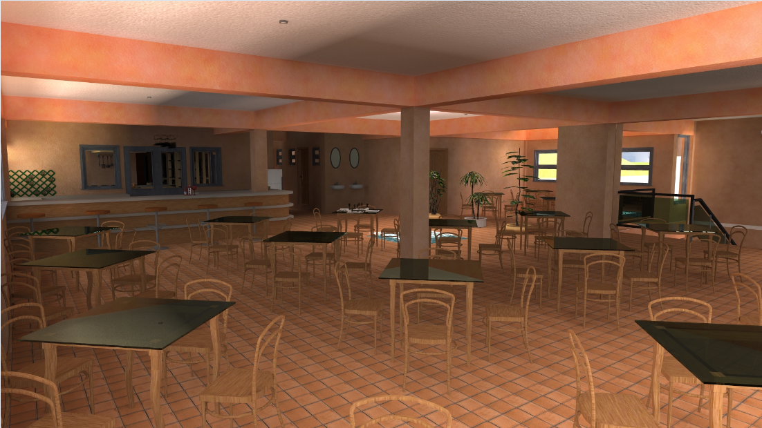 3D image view of a restaurant dwg file