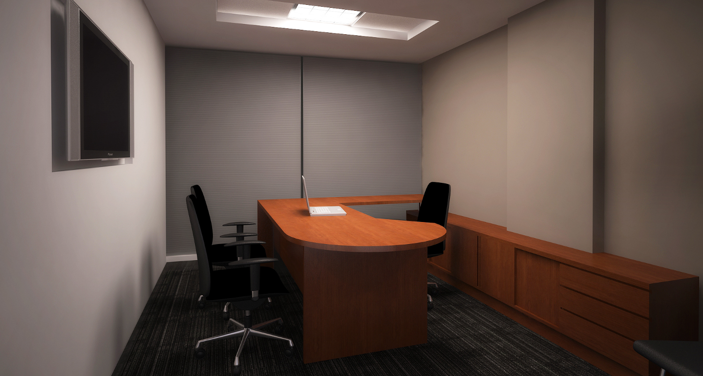 3D image view of office cabin dwg file