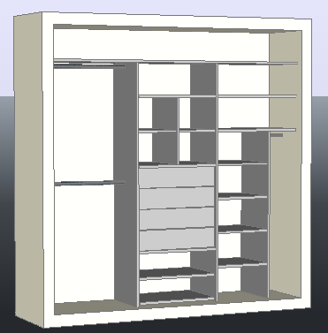 3D interior furniture design of closet drawing