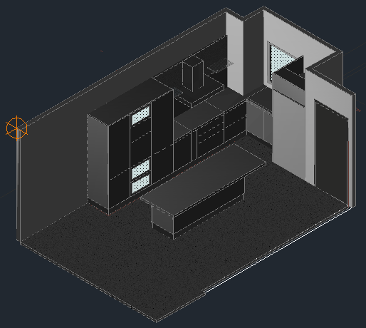 3D kitchen design drawing with modern design