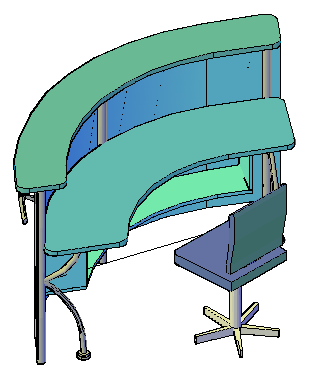 3D office furniture of reception table design drawing