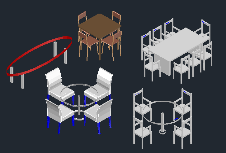 3D view of Dining table set (5)