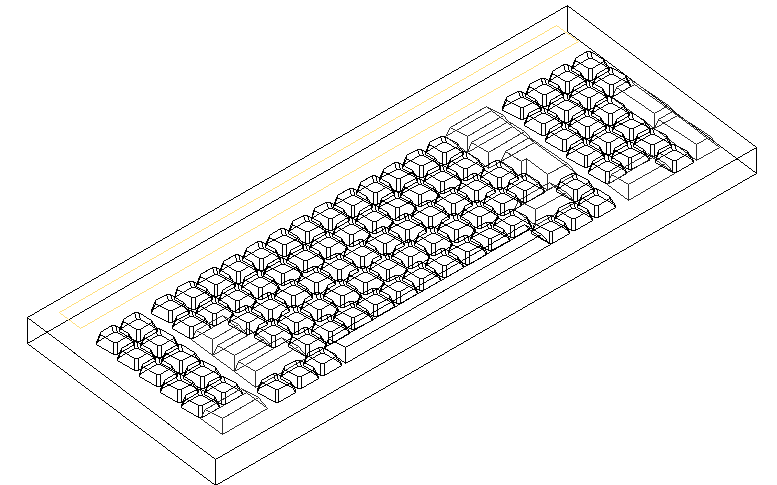 3D view of a computer's keyboard