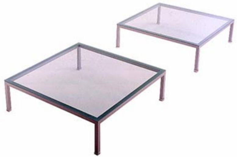 3D view of a glass table