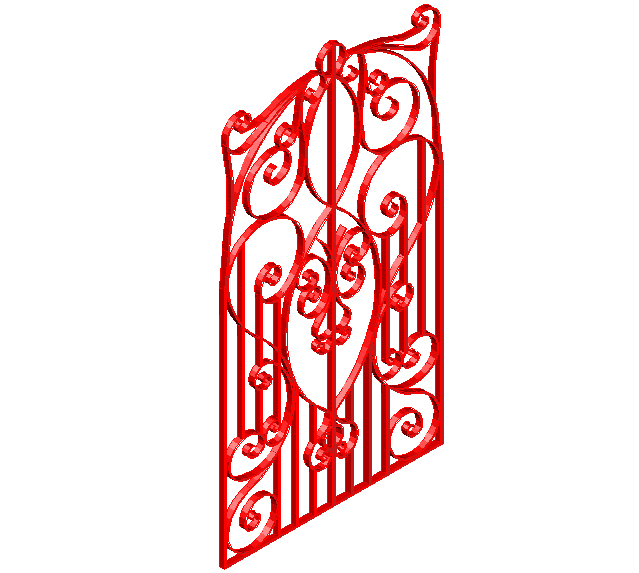 3D view of artistic forged door