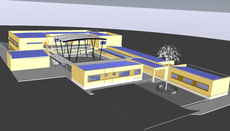 3D view of school dwg file