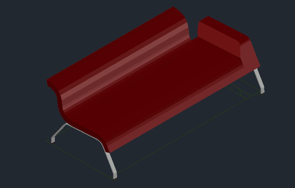 3D view of sofa with furniture view dwg file