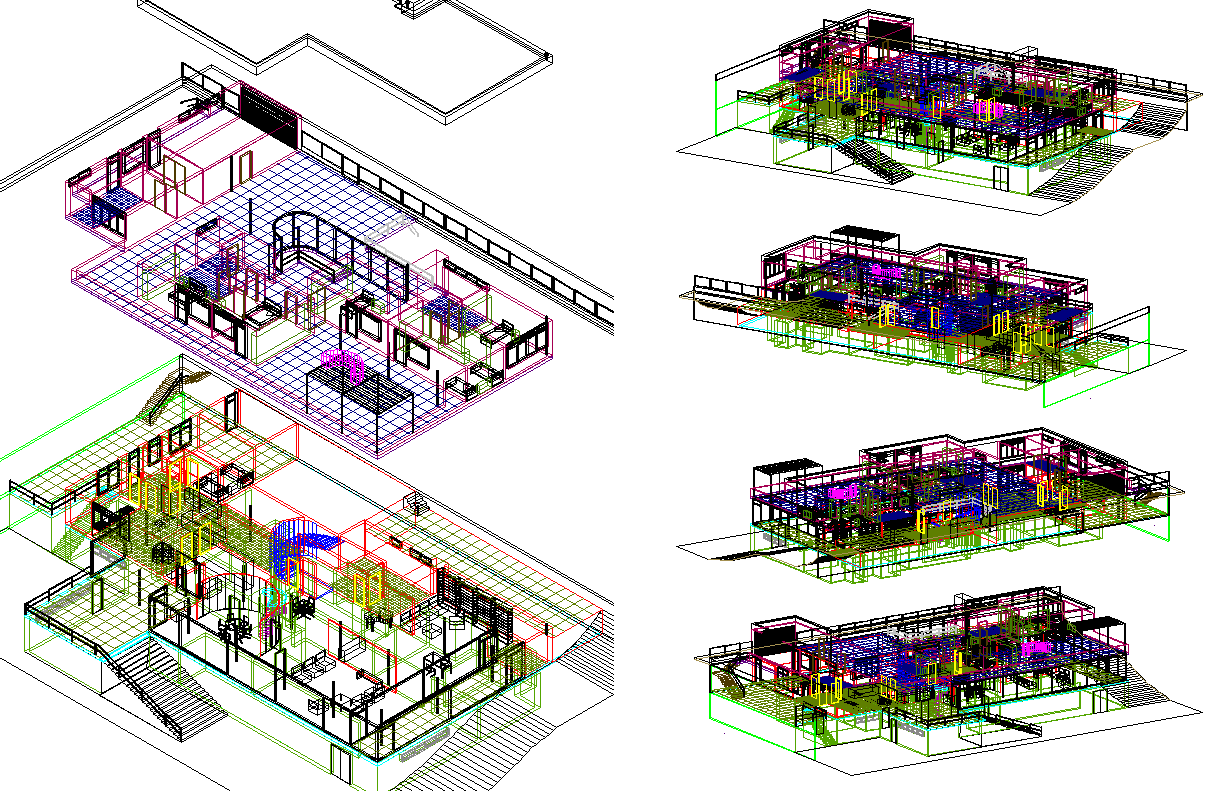 3d Architecture Residence Plan dwg file