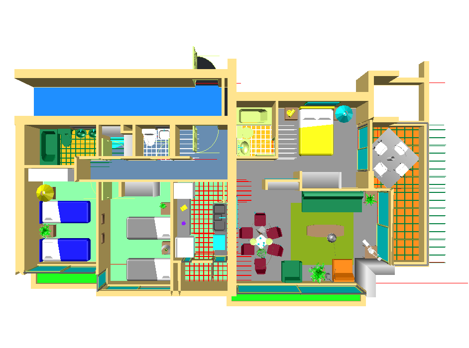3d House Top View Dwg File